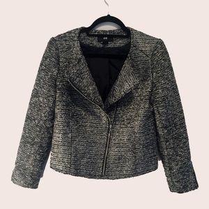 H&M Tweed Silver and Black Moto / Biker Jacket